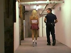 Office, Police officer interrogation woman at front door