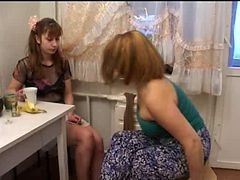 Mom, Russian, Hairy russian mom seduces her boy