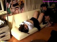 Blowjob, Tied, Vibrator, Schoolgirls tied up
