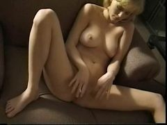 Blonde, Smoking, Old father seduced sweet daughter and fucked her on the couch
