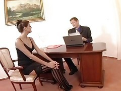Stockings, Secretary, Persia masturbate and squirt