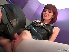 Femdom, Strapon, Domination with handjob for dude slaves