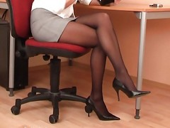 Black, Panties, Pantyhose, Secretary, Pantyhose strapon