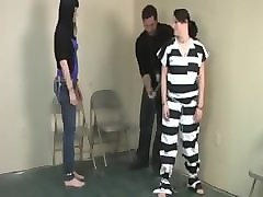 Jail, Girl shackled and handcuffed in jail