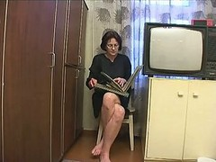 Mom, Russian, Mom and son having sex behind father