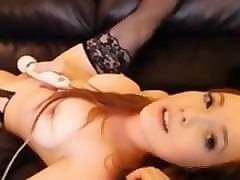 Leather, Redhead, Busty tanned schoolgirl rubbing guy cock with tits getting her pussy fucked creampie on the couch in the dark room