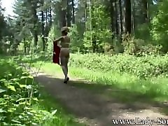 Milf, Lady sonia in rubber open skirt smoking