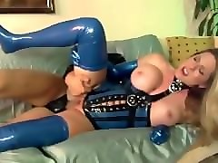 Blonde, Latex, Stockings, Gloves, Couple fucking on a desk retro 90s