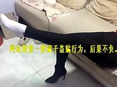 Chinese, Footjob, Socks, Caught sniffing socks