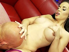 Leather, Mom lets jealous son fuck her on the couch jodi west
