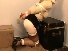 Office, Hogtied and gagged bdsm whore getting whipped