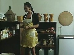Kitchen, Milf busts teen couple fucking in her kitchen