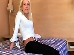 Blonde, British, Aunt fucks nephew and let him cum inside