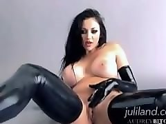 Leather, Gloves, Strapon guy pegging leather domina boots gloves