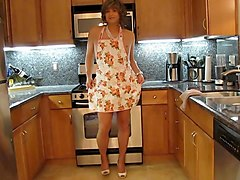 Crossdresser, Kitchen, Dress, Fucking grandpa son crossdress girl on kenns
