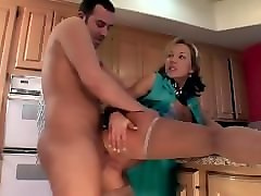 Bus, Wife, Stockings, Her husband goes to work and leaves hot blond mature wife leigh ann nude at home and workmen all enter and gang fuck her taking turns shooting internal creampies in her pussy over and over until she dripping