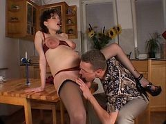 Clit, Pregnant, Big Clit, Girl gets clit licked while riding cock threesome