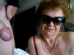 Granny, Blowjob, Wife wants to watch husband give gay blowjob