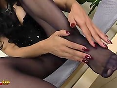 Black, Panties, Footjob, Pantyhose, Nika noire mistress