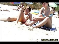 Beach, Cuties stripping almost naked at the beach