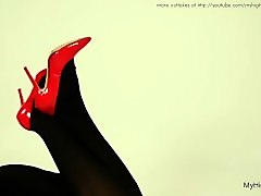 Black, Heels, Stockings, High heel heidi side trample face