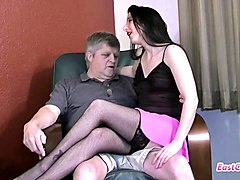 Creampie, Uncle, Very attractive mom in sexy pantyhose seduced by not her son