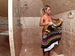 Blonde, Babe, Oil, Shower, Titjob oil