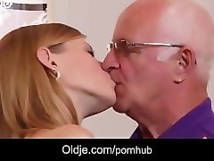 Grandpa, College, Cute blonde girl loves getting choked while fucking