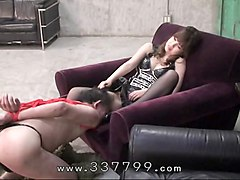 Femdom, Slave, Tied, Leather boots spanked mistress lesbian mom tied bound