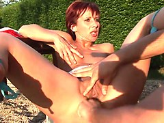 Redhead, Abusive cougars fuck sons