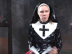 Nun, Strapon, Tied guy fucked in ass by dildo watches girl fuck guy