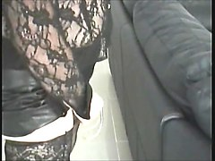 Black, Leather, Vibrator, Wife in sexy skirt