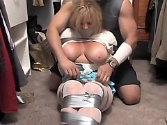 Bus, Blonde, Gagging, Milf