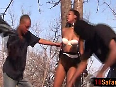 African, Black, Teen, First casting threesome for two teens