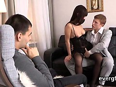 Boyfriend and girlfriend suck his friends cock together
