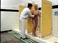 Blonde, Teen, Shower, Guy licks his girls pussy while getting fucked in her ass by big black dick