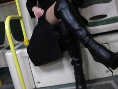 Bus, Boots, Black, Flashing, Indian leather