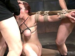 Tied, Redhead, Wife tied blindfolded and fucked by a stranger without her knowing