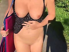 Flashing, Dogging, Milf, Stranger groping wife dogging in outdoor