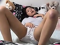 Asian, Couple, Hidden, Dildo vibrator stockings