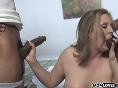 Mom lisa ann changing lingerie in front of son