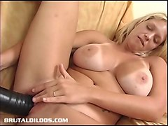 Bus, Blonde, Dildo, Fuck wet panty ripped a pussy with dick