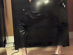 Panties, Leather, Heels, Leather pants wife blowjob