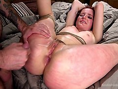 Stupid blond gets tied up and fucked