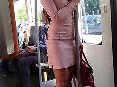 "Leather, Public, Heels, Dress, ""leather skirt"""