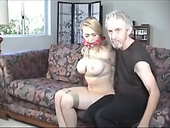 Bus, Blonde, Whore, Gagging, Husband and wife tied and fucked