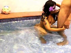 Indian, Milf, Super sensitive penetrating in a pool