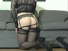 Heels, Ass, Stockings, Strip, Brutal ballbusting with sexy high heels