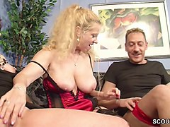 German, Couple, Caught, Aunt, Sexy big breasted german mom fucking young boy
