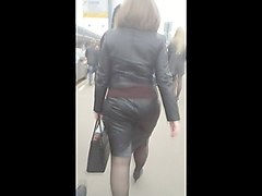Leather, Ass, Big Ass, Leather mini skirt spanking